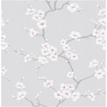 Decomode vliesbehang Blossem grijs