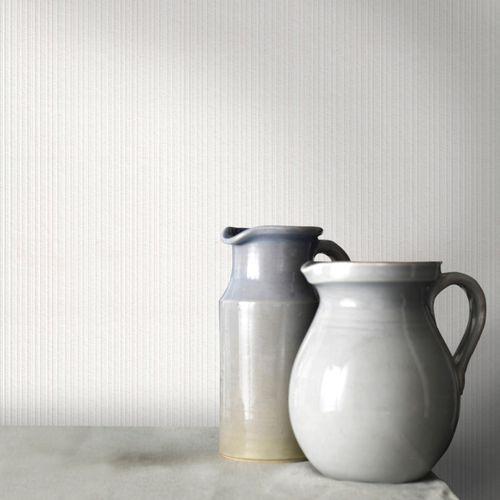 Sencys overschilderbaar vliesbehang Liniair wit