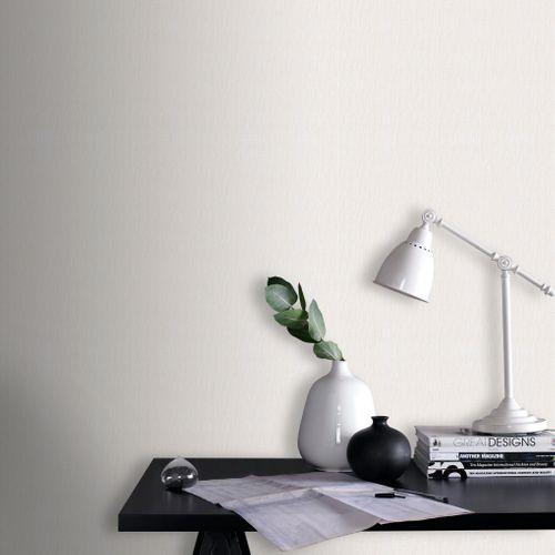 Sencys papier peint intissé à peindre lin fin blanc