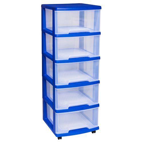 Système à tiroirs avec roulettes Curver Essentials blue laser 5x20L