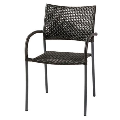 Chaise de jardin Central Park 'Piatto' wicker noir 82 x 52 cm