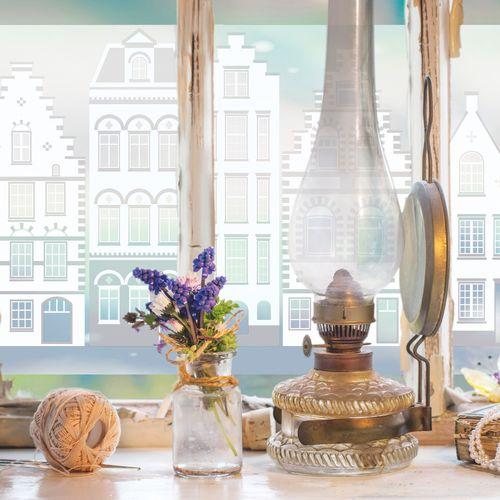 Transform premium statische glasfolie Houses 45x150cm