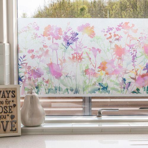 Transform premium statische glasfolie Fieldflowers 45x150cm