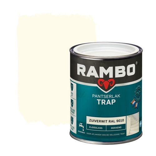 Rambo pantserlak trap dekkend zijdeglans zuiverwit (RAL 9010) 750ml