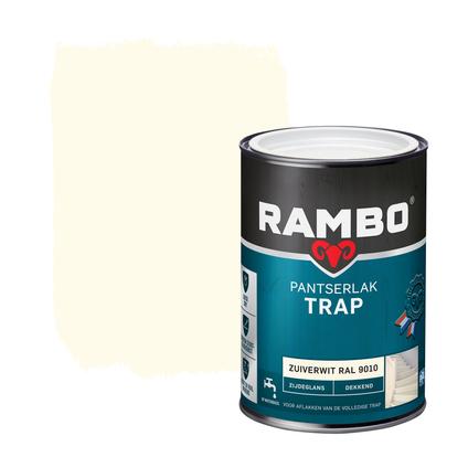 Rambo pantserlak trap dekkend zijdeglans zuiverwit (RAL 9010) 1250ml