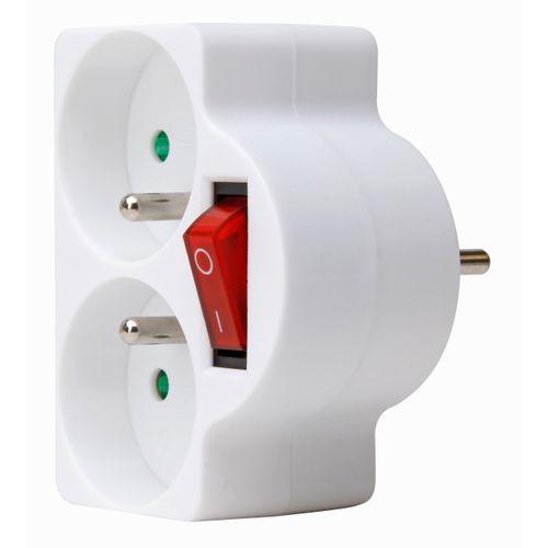 Kopp adapter 2-voudig penaarde + schakelaar ovaal wit