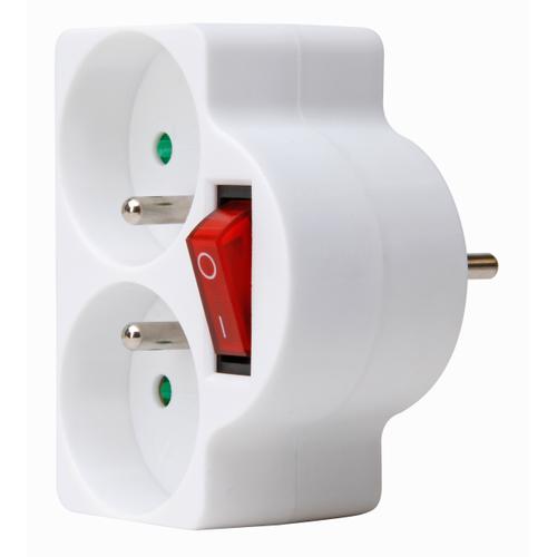 Domino Kopp 2x16A + interrupteur blanc