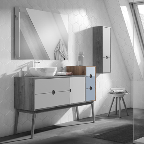 Meuble sous-lavabo module 3 tiroirs Kompas bleu 30 cm