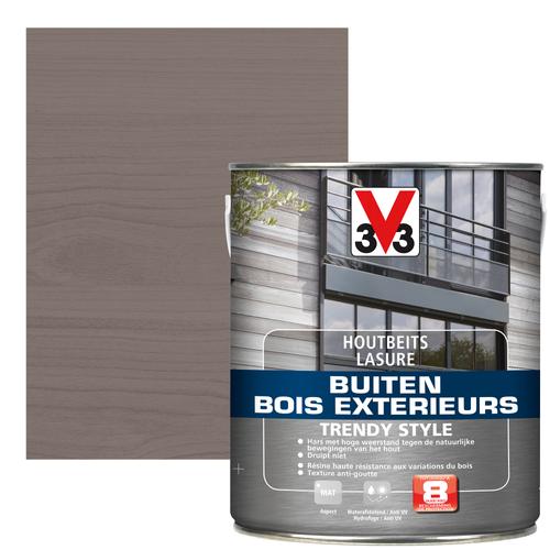 V33 houtbeits Buiten Trendy Style zilveren ceder zijdeglans 2,5L
