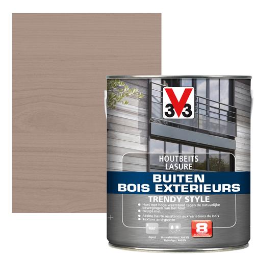 V33 houtbeits Buiten Trendy Style zilver grijs zijdeglans 2,5L