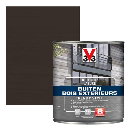 V33 houtbeits Buiten Trendy Style grafiet eik zijdeglans 0,75L
