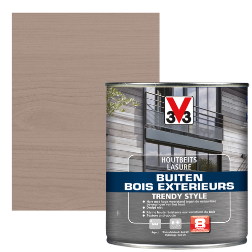 V33 houtbeits Buiten Trendy Style zilver grijs zijdeglans 0,75L