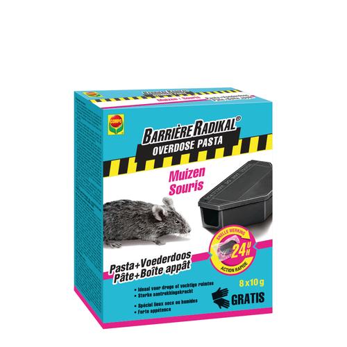 Anti-souris 24h pâte + box Compo Barrière Radikal Overdose 80g