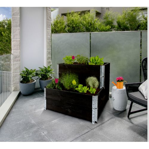 Mini moestuinbak Nortene Modulo Garden zwart 60x19,5x2cm 2 stuks
