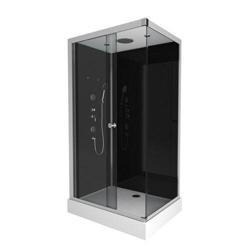 Aurlane douchecabine Black 2 rechthoek 110x80cm
