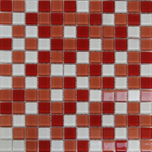 Longart mozaïekblad glas mix rood/wit 30x30cm