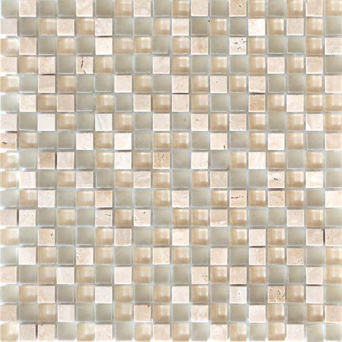 Feuille de mosaïque Longart verre & marbre mix beige/blanc 30x30cm