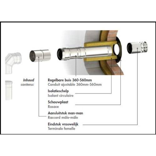 Opsinox muurdoorvoerkit Ø80mm RVS