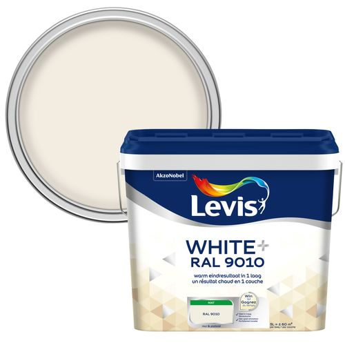 Levis muur en plafond verf 'Extra white+' gebroken wit mat 5L