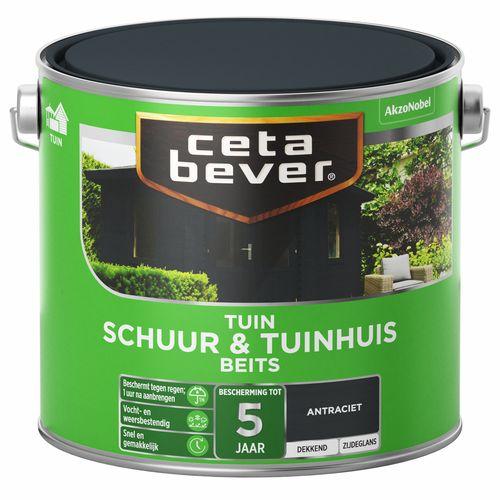 CetaBever Schuur & Tuinhuis beits Antraciet Zijdeglans 2,5L