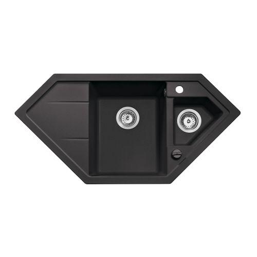 EsseBagno hoekspoelbak Astral zwart 1,5 bak 100x50cm