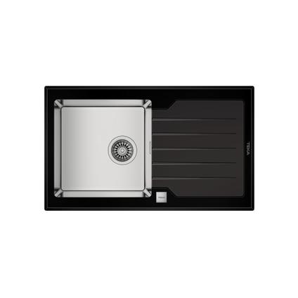 EsseBagno spoelbak Lux RVS zwart 1 bak 86x51cm