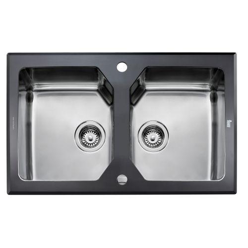 EsseBagno spoelbak dubbel Lux RVS zwart 86x51cm