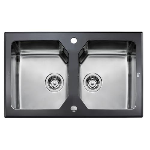 EsseBagno spoelbak Lux RVS zwart 2 bakken 86x51cm