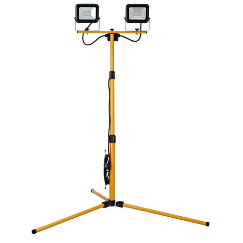 Projecteur de chantier trépied Sencys LED 'Ultra-slim' jaune noir 2x20W