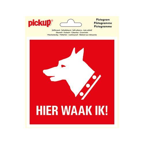 Pickup sticker Hier waak ik 15x15cm
