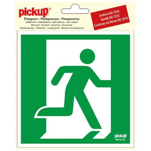 Pickup sticker Nooduitgang rechts 15x15cm