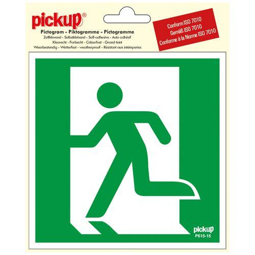 Pickup sticker Nooduitgang links 15x15cm