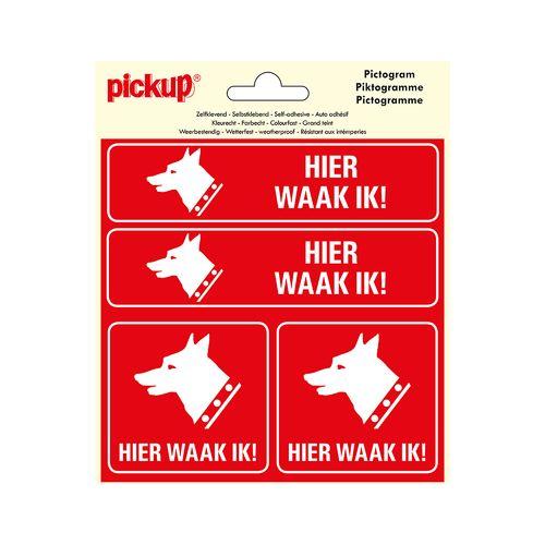 Pickup sticker 4-op-1 Hier waak ik 15x15cm