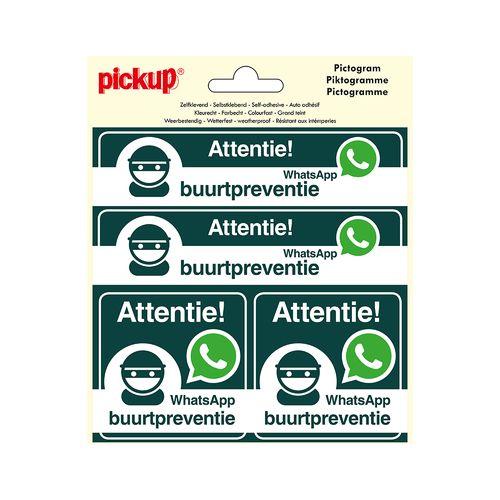 Pickup sticker 4-op-1 WhatsApp Buurtpreventie15x15cm