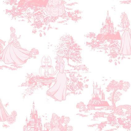 Disney Papierbehang Princess wit roze