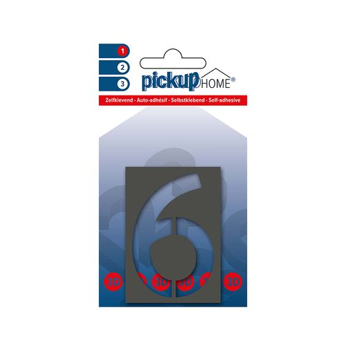 Pickup kleefcijfer 6 Home 3D Milan 60mm grijs
