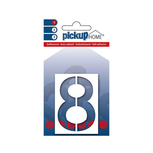 Pickup kleefcijfer 8 Home 3D Milan 60mm wit