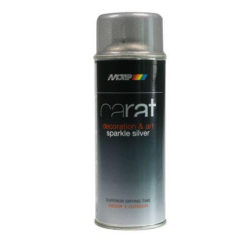 Peinture en spray MoTip Carat effet pailleté argent 400 ml
