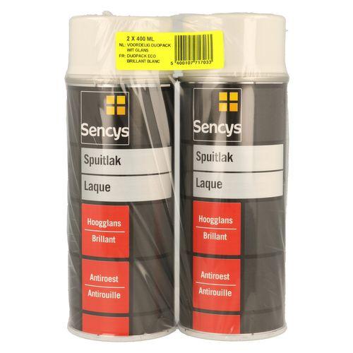 Peinture en spray Sencys Duopack blanc brillant 2x 400 ml