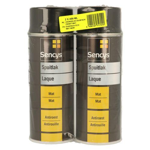 Sencys lak spuitbus Duopack mat zwart 2x400ml