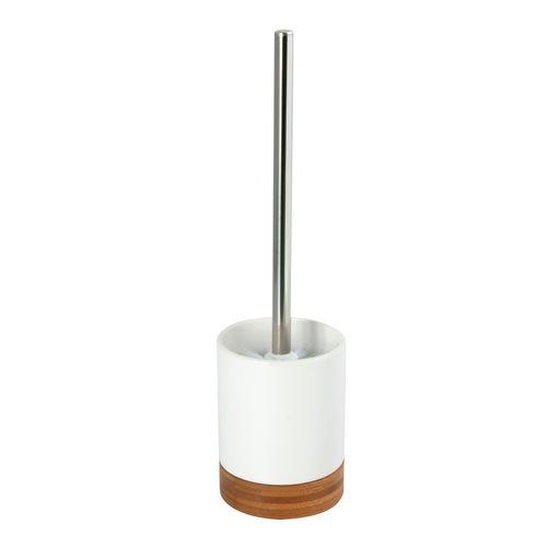 Set brosse wc MSV Tallinn blanc bois mat à poser