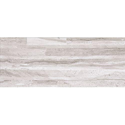 Carrelage mur Opera Travertino Lucido céramique gris brillant 20x50cm 1,7m²