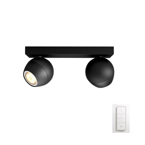 Philips Hue spot Buckram zwart 2x5,5W