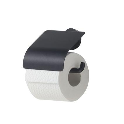 Porte-papier de toilette + couvercle Tiger Urban noir mat à suspendre