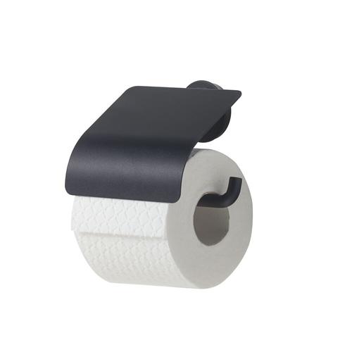 Tiger toiletrolhouder Urban zwart met klep