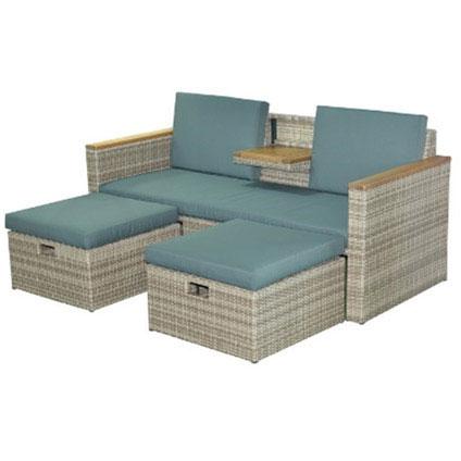 Loungeset 'Relax Twin' hout / aluminium bruin