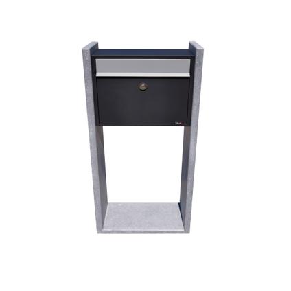 Boite aux lettres sur pied VASP 'Gent' noir pierre bleu belge et acier thermopoudré