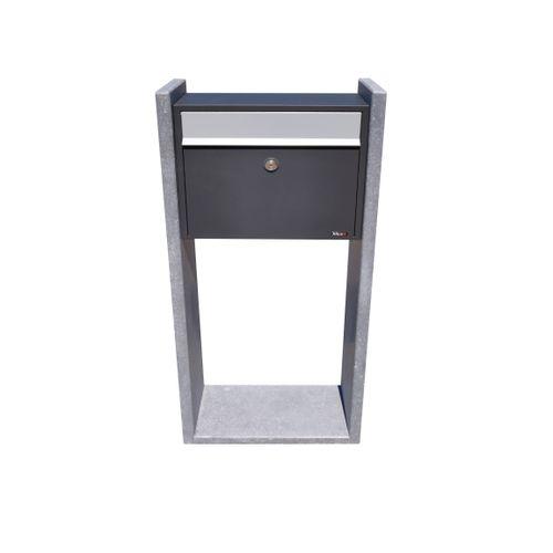 Boite aux lettres sur pied VASP 'Gent' anthracite pierre bleu belge et acier thermopoudré