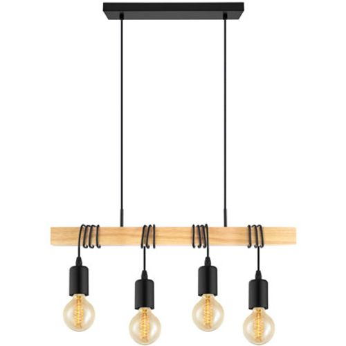 Suspension Eglo 'Townshend' noir/brun 4x60W