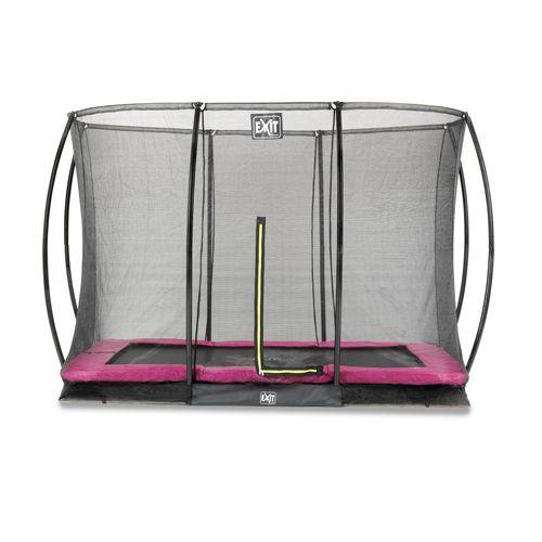 Exit in-ground trampoline Silhouette + veiligheidsnet 214x305cm roze